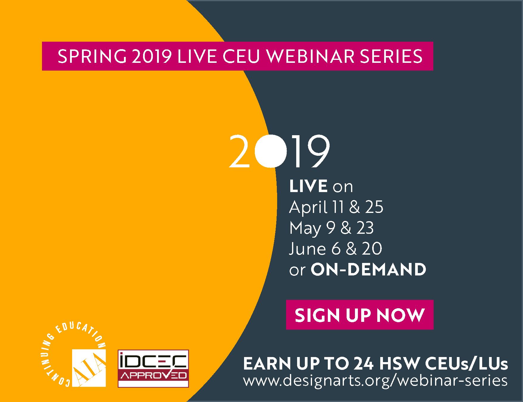 Spring 2019 Live CEU Webinar Series