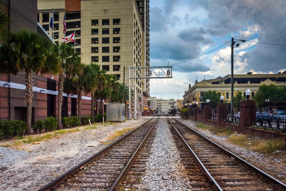 Railroad tracks and buildings in Orlando, Florida.-1