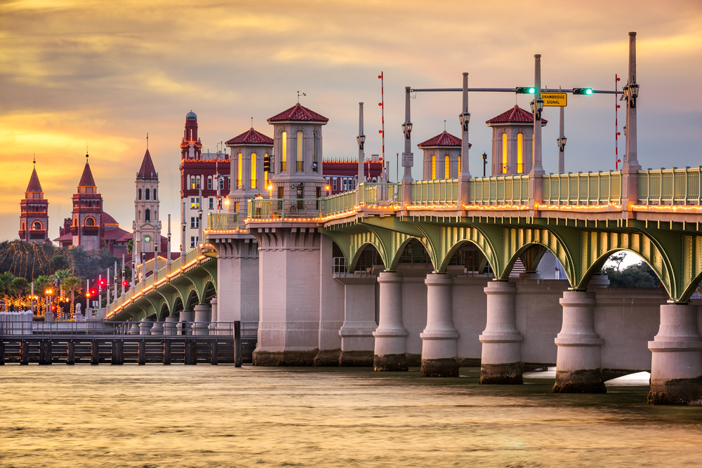 St. Augustine, Florida, USA city skyline and Bridge of Lions.