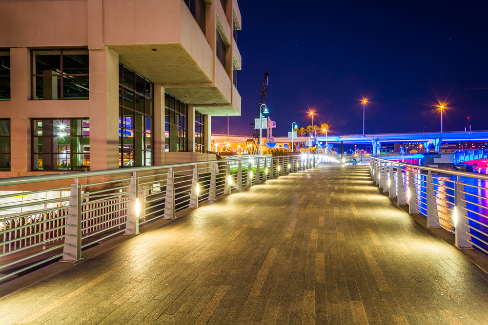 The Riverwalk at night, in Tampa, Florida.