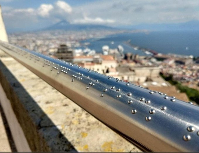 Braille engraved railing at Castel Sant'Elmo in Naples, Italy.